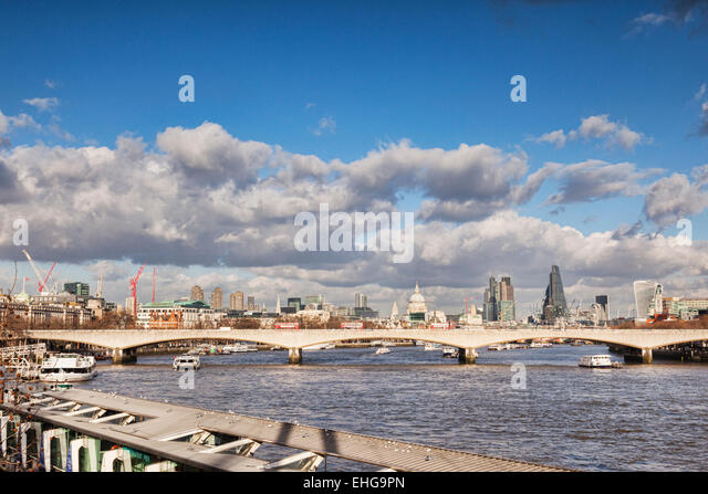 London skyline with Waterloo Bridge, St Paul's Cathedral, the Cheese Grater and the Walkie Talkie. - Stock Image
