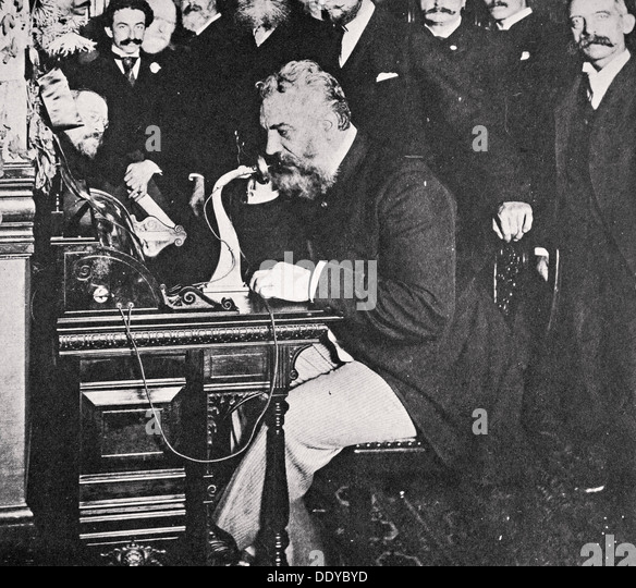 Alexander Graham Bell makes the first telephone call between New York and Chicago, USA, 1892. Artist: Unknown - Stock Image