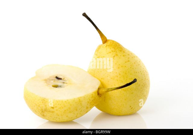 Chinese fragrant pear isolated on white background - Stock Image