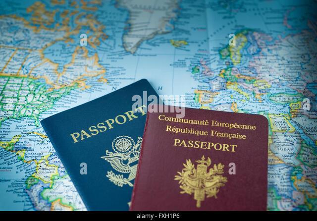 Two passports ready to travel the world - Stock-Bilder