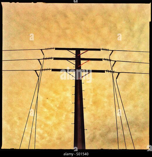 Electricity cables overhead - Stock Image