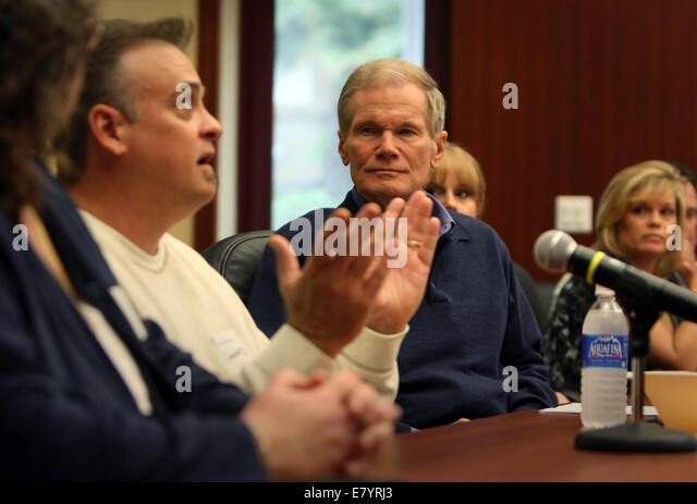Mar 12, 2010 - West Palm Beach, Florida, U.S. - Senator BILL NELSON listens to GREG DUNSFORD (left) during a meeting - Stock Image