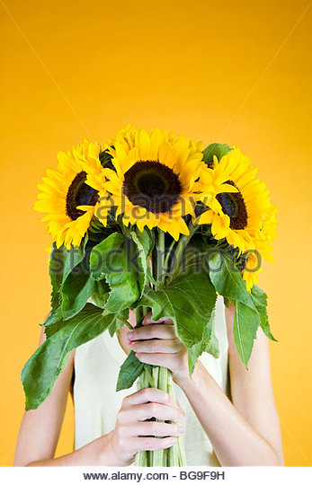 A Young Woman Behind A Bunch Of Sunflowers - Stock-Bilder