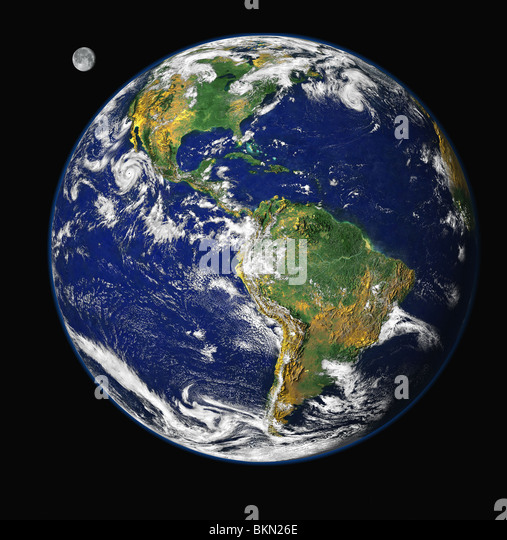 EARTH & MOON viewed from space, with North & South America visible - Stock Image