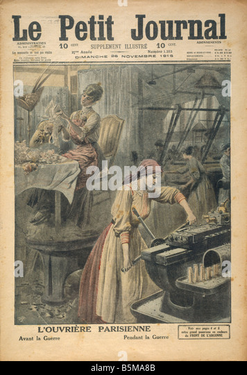 2 G55 R1 1916 Woman in the arms industry Paris WW1 History World war 1 1914 18 Arms industry L ouvriere parisienne - Stock-Bilder