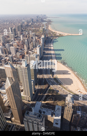 USA, Illinois, Chicago, View from John Hancock Tower and Lake Michigan - Stock Image
