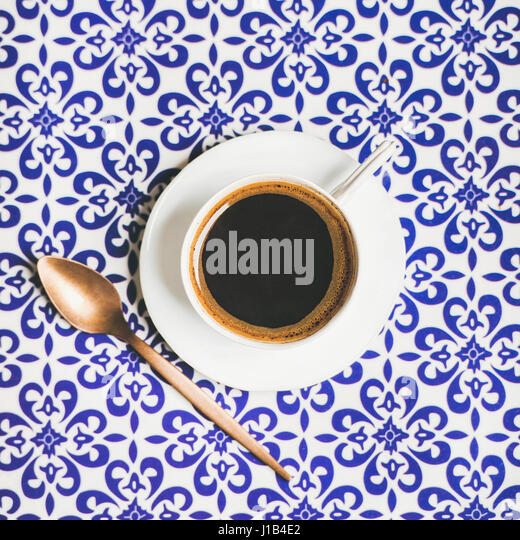 Cup of black Turkish or Eastern style coffee, square crop - Stock Image