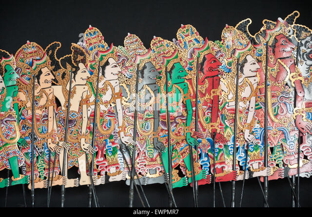 Wayang puppets at the Museum of Puppetry, Ubud, Bali, Indonesia. - Stock Image