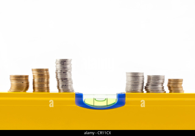 stability and change in the rate of money abstract on white background - Stock Image