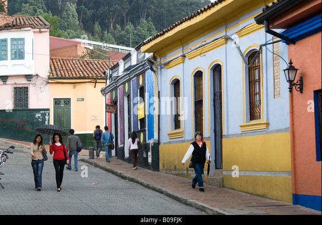 Street in La Candelaria, Bogota, Colombia - Stock Image