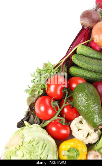 With vegetables are half of the frame on the diagonal. - Stock Image