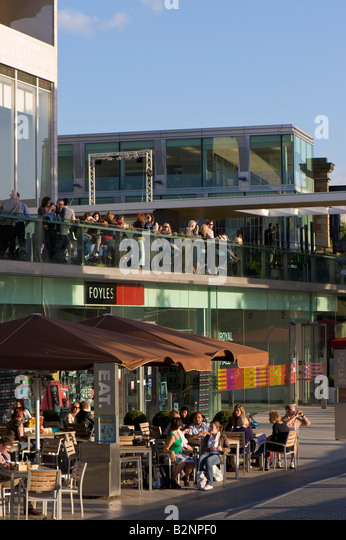 People enjoy food and drink by 'Royal Festival Hall' Southbank SE1 London United Kingdom - Stock Image