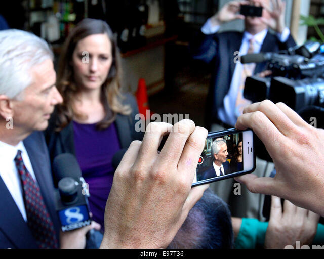 Oct 20, 2014 - Santa Cruz, California, U.S. - Attorneys JERRY CHRISTENSEN and ATHENA REIS, who are representing - Stock Image