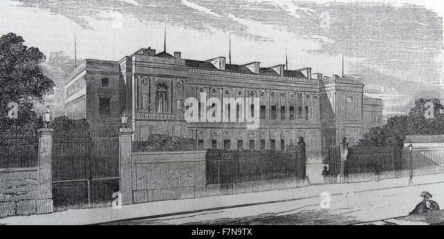 Illustration of the New Hotel of the Minister of Foreign Affairs in des Invalides, France. Dated 1840 - Stock Image