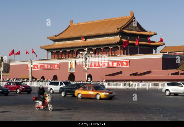 Dense traffic at the Tienanmen Gate,Beijing - Stock-Bilder