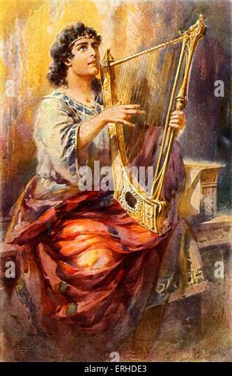 King David playing the lyre. - Stock Image