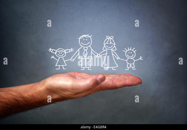 Chalk drawing of a family - Stock-Bilder