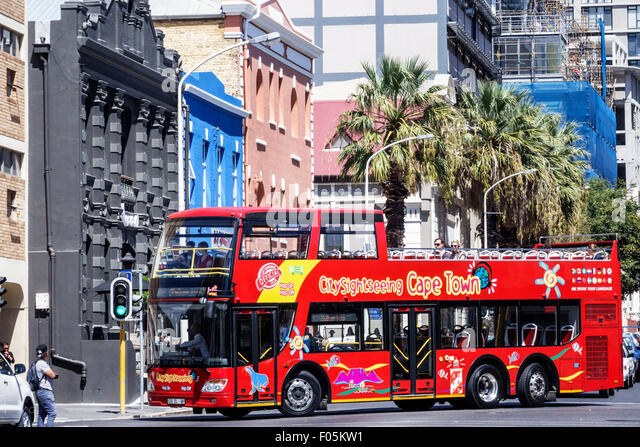 South Africa African Cape Town City Centre center Buitenkant Street City Sightseeing bus coach double decker red - Stock Image