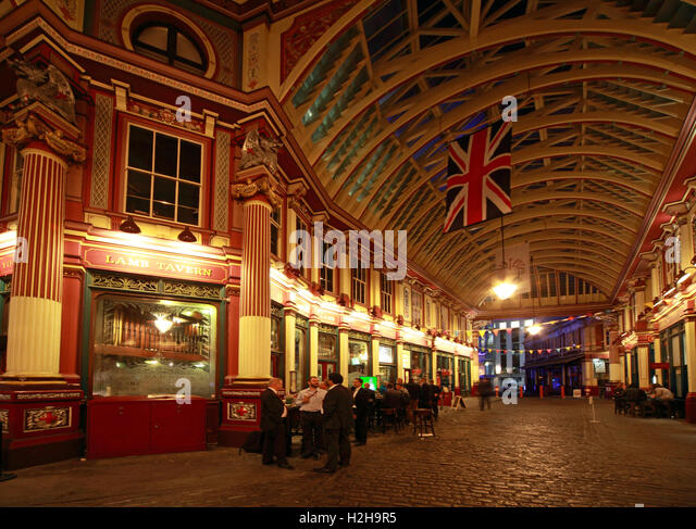 Leadenhall market at night,City Of London,England,UK - Panorama - Stock Image