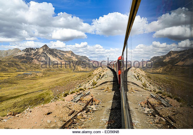 The Ferrocaril Central Andino train, the worlds second highest railroad, crosses the Andes en route from Lima to - Stock Image