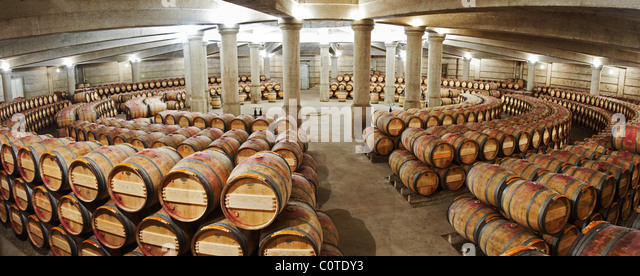 circular barrel aging cellar ch lafite rothschild pauillac medoc bordeaux france - Stock Image