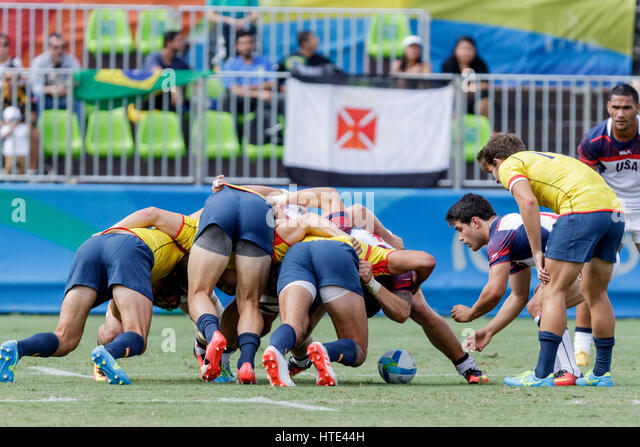 Rio de Janeiro, Brazil. 11 August 2016  Scrum during USA and Spain match in the Men's  Rugby Sevens  at the - Stock Image