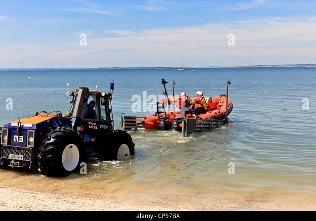 3913. RNLI Lifeboat launching, Whitstable, Kent, UK - Stock Image