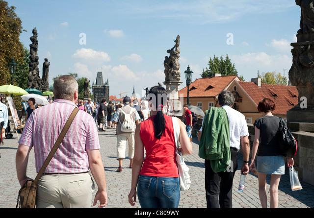 August 2011 - Czech Republic - Summer street scene on the bridge Charles - Stock Image