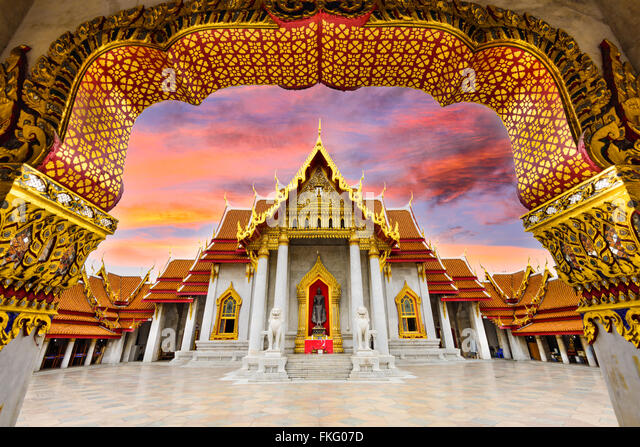 Marble Temple of Bangkok, Thailand. - Stock Image