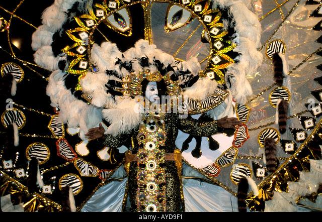 Trinidad Carnival bright costume - Stock Image