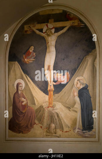 Crucifixion with the Virgin Mary and St Dominic, Cell 30,  by Fra Beato Angelico,1440- 1442, Convent of San Marco, - Stock Image