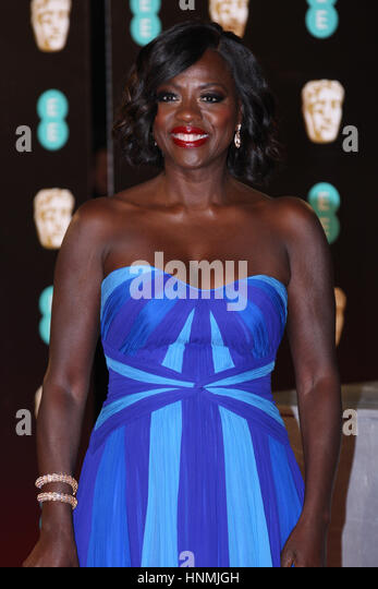 LONDON - FEB 12, 2017:  Viola Davis attends The EE British Academy Film Awards (BAFTA) at the Royal Albert Hall - Stock Image