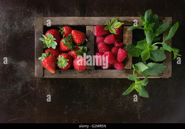 Fresh berries and mint - Stock Image