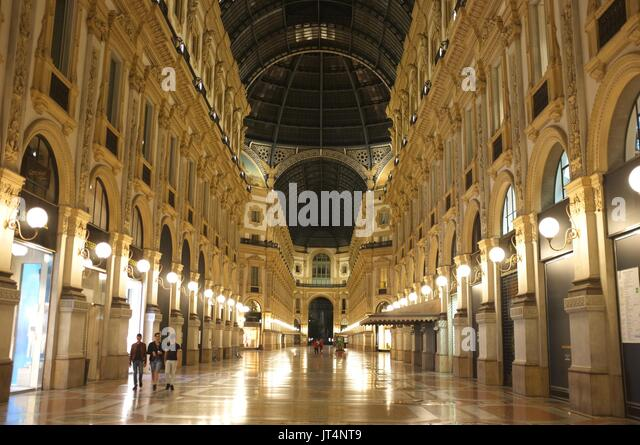 Galleria Vittorio Emanuele II, Milan, Lombardy, Italy, July 2017 - Stock Image