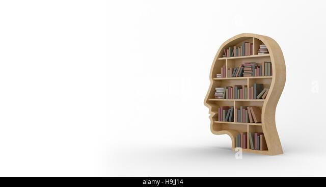 Books in brown human face bookshelves - Stock Image