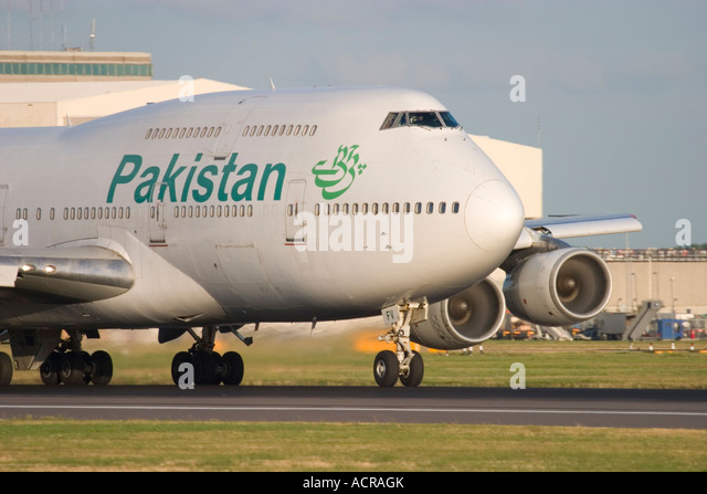 Pakistan International Airlines PIA Boeing 747-367 at London Heathrow Airport England UK - Stock Image