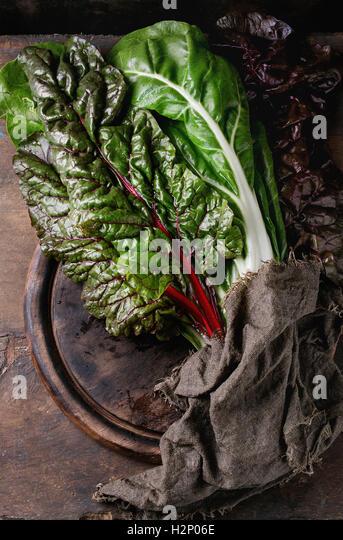 Chard mangold salad leaves - Stock Image