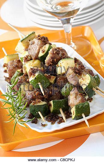 Marinated pork brochettes - Stock Image