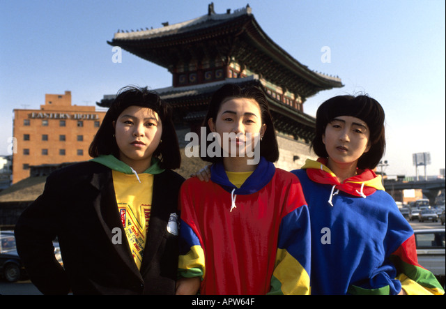 South Korea Asia Far East Seoul modern Asian teens students temple - Stock Image