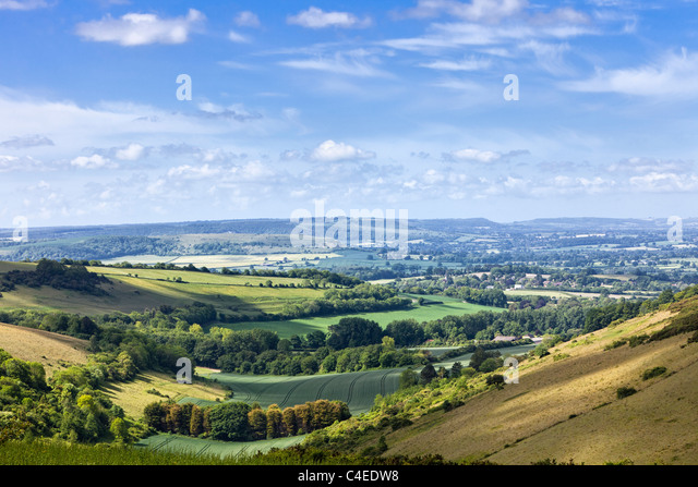 English countryside view of rolling hills in Dorset, England, UK - Stock Image