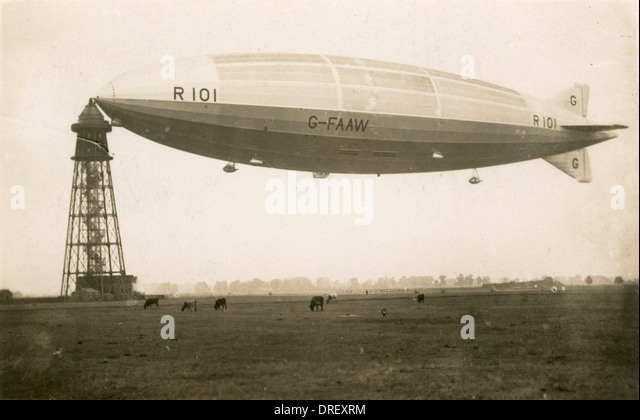 The final flight of R 101, she crashed the next day. - Stock Image