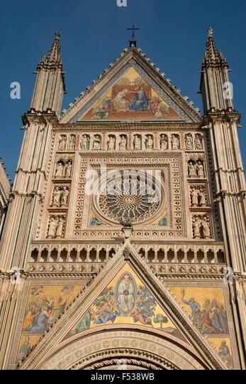 Italy, Umbria, Orvieto. The Cathedral of Orvieto or Duomo of Orvieto. 13th century Gothic masterpiece. Detail of - Stock-Bilder
