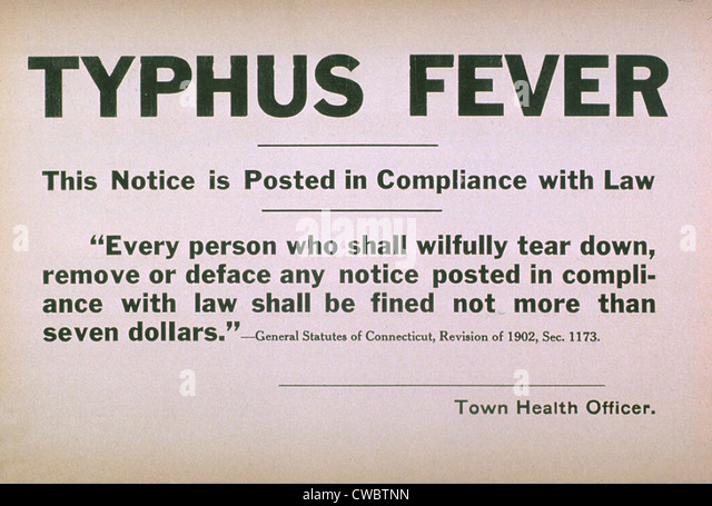 Early 20th century quarantine sign for the contagious disease typhus fever. - Stock Image