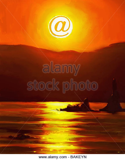 Sunset with At Symbol - Stock-Bilder