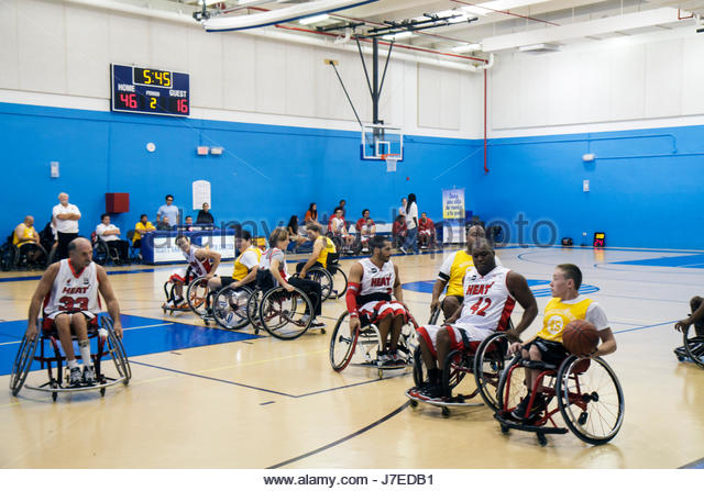 Miami Beach Florida Scott Rakow Community Center centre Ability Explosion Colusana Wheelchair Basketball Event man - Stock Image