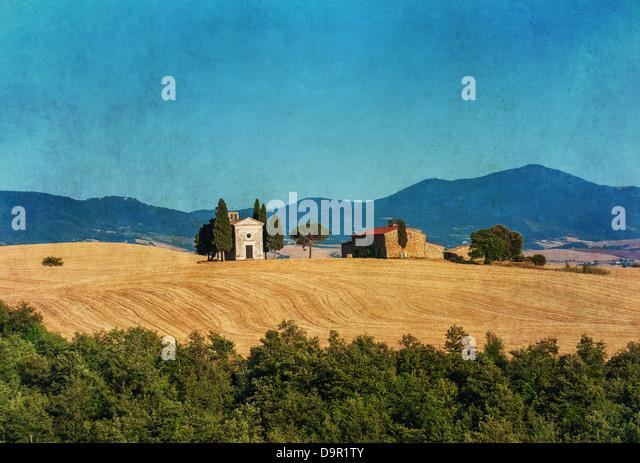 vintage tuscan landscape - Stock Image