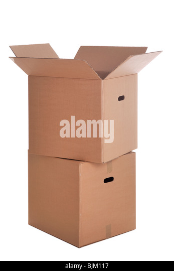 Two cardboard boxes stacked ,isolated on a white background. - Stock Image