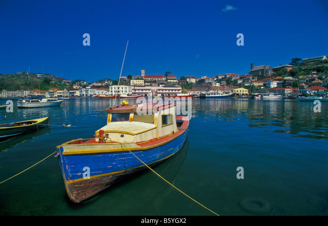 Grenada St. Georges harbor picturesque with bright colors carenage capital city in  southern Grenadines - Stock Image