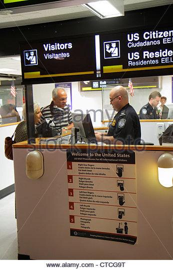 Miami Florida Miami International Airport MIA Passport Control Customs arriving passengers entering - Stock Image