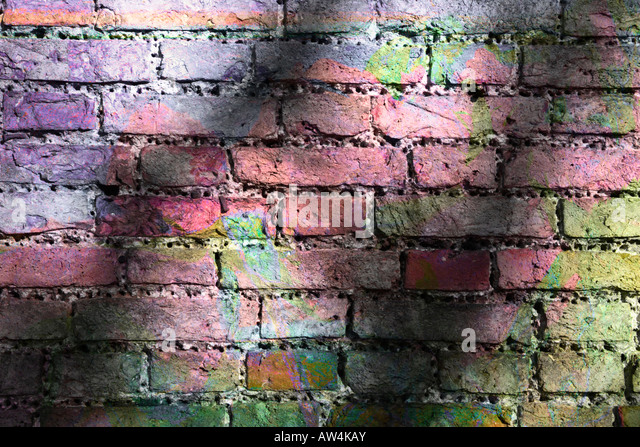 Coloured Brick Wall - Stock Image